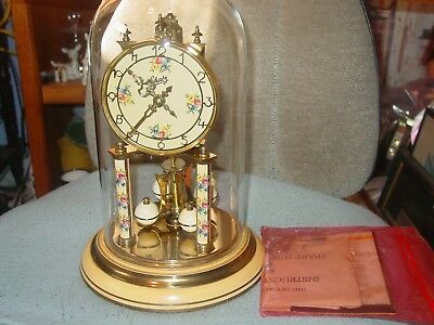 Vintage Schatz 400 Day Anniversary Glass Dome Clock with Key and Manual