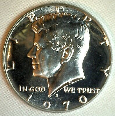 1970 S Kennedy Proof Half Dollar US 40% Silver Coin 50 Cents 50c