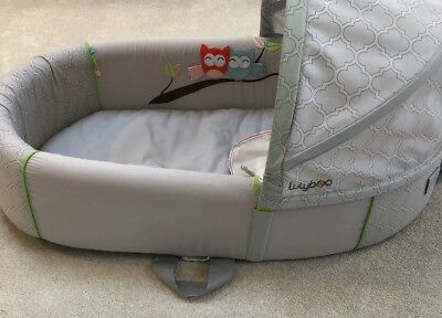 Lulyboo Baby Lounge Premium Bassinet To Go Backpack - Tan/white Check