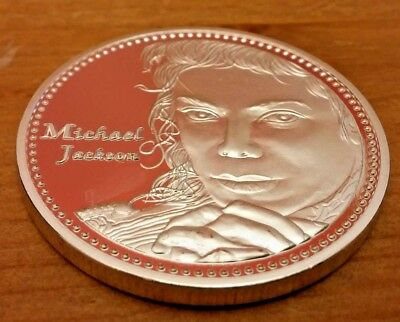 Michael Jackson Face Silver Coin Autograph History Pop Rock n Roll Singer Music