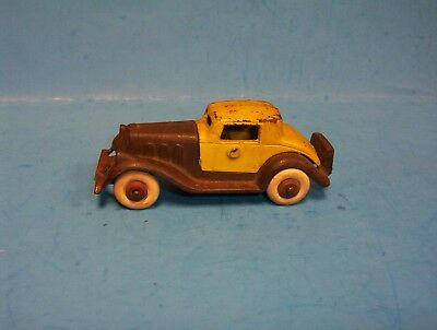 Vintage 1933 Hubley Toy Cast Iron Coupe Take Apart Car Yellow Brown