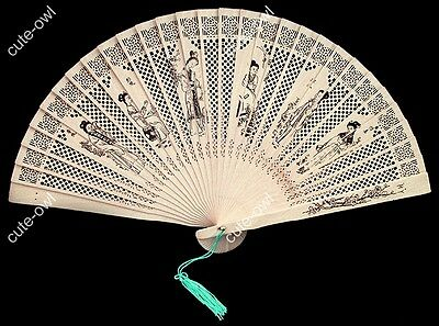 Traditional sandalwood carved Folding pocket hand fan Painted beauty women