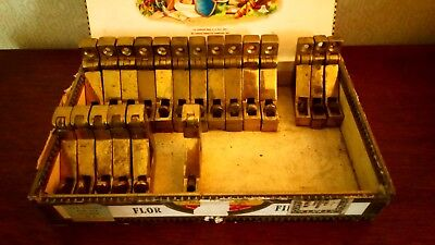 20 Heavy Old Brass Stair Rod Clips