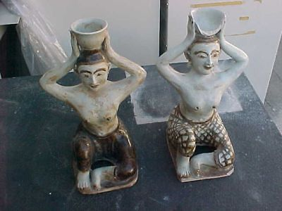 2 Antique Polychrome Pottery Figures with bowl on head Thai?