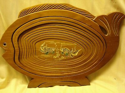 Collapsible Wooden Fruit Bowl With Mother Of Pearl Inlaid Base