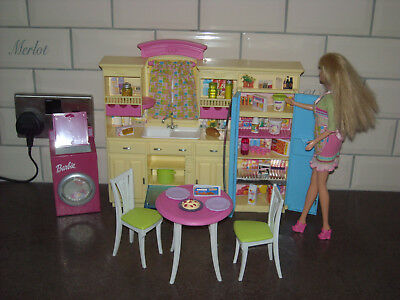 Barbie Doll & Furniture. Barbie Kitchen, Washing Machine, Table, Chairs + More.