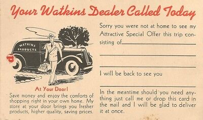 Advertising Postcard - Watkins Products , Mail Order Card - Watkins Spices, Etc.