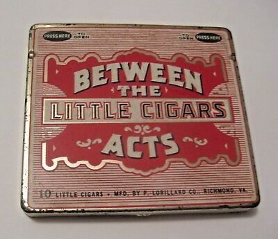 Vintage Between The Acts Little Cigars Advertising Tin ~ Nice Colors & Grapgics