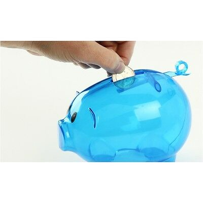 New Blue Plastic Piggy Bank - Save Coins And Cash Fun For Kids