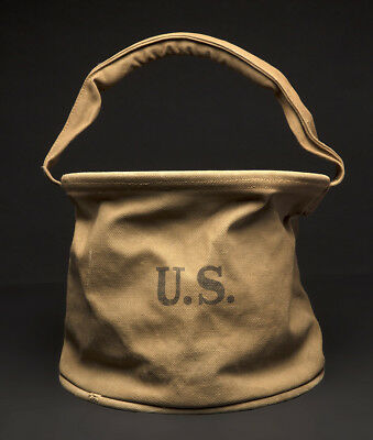 ORIGINAL WWII US Army Military Canvas Water Collapsable Bucket  1943  No~RESERVE