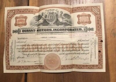 Antique stock certificate Durant Motors 5 Shares 1924