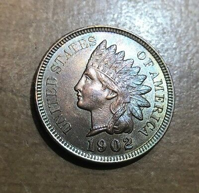 1902 Indian Head Cent Proof Rainbow Toned