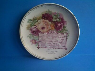 1910 Calendar Plate HARRY W. CLARK & CO. Clothiers BELFAST, MAINE  8 1/2""