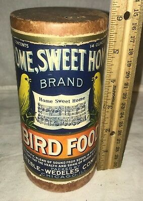 Antique Home Sweet Home Bird Food Vintage Canary Pet Vet Can Box Tin Spout Old