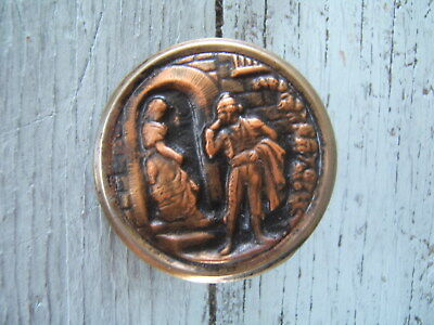 """Antique Victorian Brass Picture Button Large 1 1/2"""" Couple Lovers Courting"""
