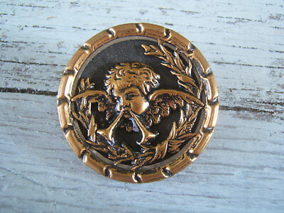 """Antique Victorian Brass Picture Button Large 1 3/8"""" Musical Cherub with 2 Horns"""