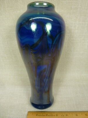 "Nice Signed ""John Cook 74"" Hand Blown Studio Art Glass Dark Blue Swirl 9"" Vase"