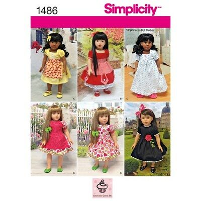 """New Simplicity Sewing Pattern 1486  for 18"""" Girl Doll Clothes 6 outfits"""