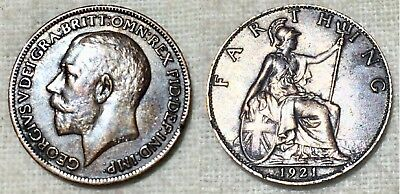 Great Britain 1921 Farthing -George V -Excellent Condition