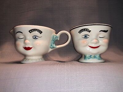 Baileys Irish Cream YUM Cups Winking Eye Face Mr & Mrs Coffee Mugs / Tea Cups