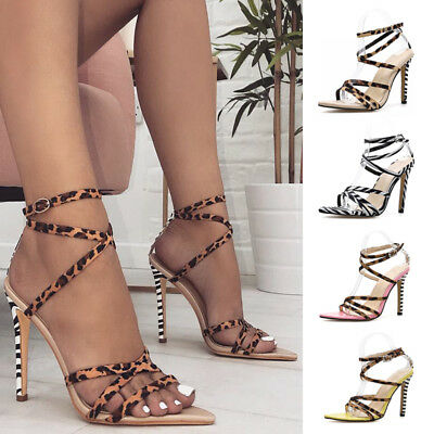 982e7ac705d Womens Ladies Barely There High Heel Party Bridal Sandals Ankle Strappy  Shoes