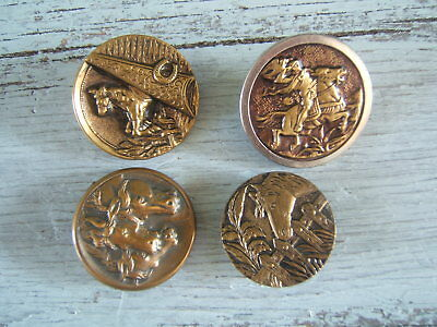 """Lot of 4 Antique Victorian Brass Picture Buttons Horse Equestrian 1 to 1 1/4"""""""