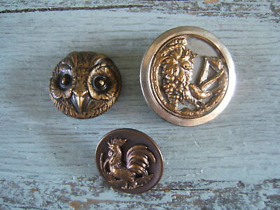 Lot of 3 Antique Victorian Brass Picture Buttons Bird Owl Rooster 1 & 1 1/2""