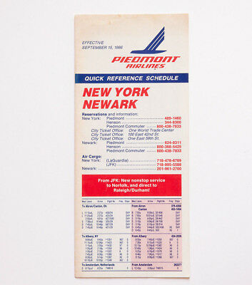 1986 TIMETABLE PIEDMONT Airlines New York Newark Time Table 80s vtg Airline 1980