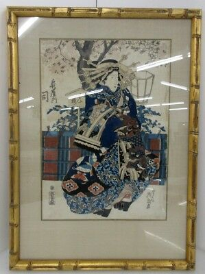 Japanese Woodblock By Yeisen (1809-1849) Woman Under Cherry Blossoms