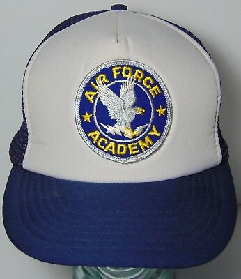 Old Vintage 1980s USAF AIR FORCE ACADEMY COLORADO Patch SNAPBACK TRUCKER  HAT CAP 315be4da672d