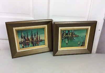 MID CENTURY Modern Abstract Paintings Original Signed Framed