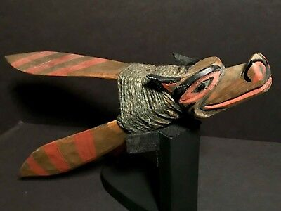 Superb Simon Charlie (1920-2005) Nw Coast Hand Carved Painted Sea Wolf Cod Lure
