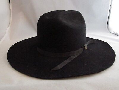 Vtg Rockmount Black SylFur Wool Fur Blend Ranch Wear Cowboy Hat USA Sz 7-1/8
