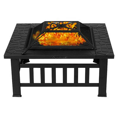 Nidouillet 3 in 1 Outdoor Fire Pit BBQ Brazier Garden Square Stove Patio Heater