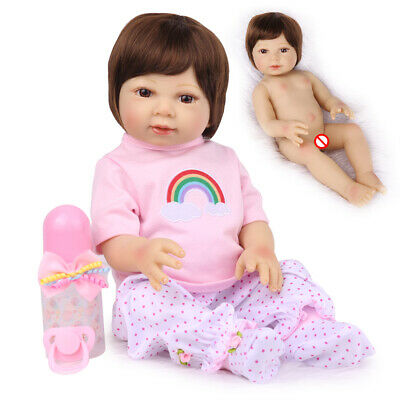 "18"" Sweet Full Body Silicone Reborn Baby Dolls Bathable Newborn Baby Girl"