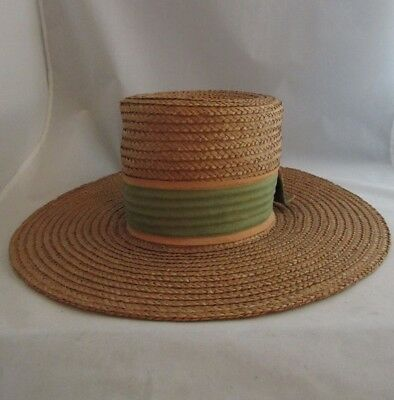 1960's Vtg Tall Crowned Straw Hat by Happy Cappers Field Company Los Angeles Med