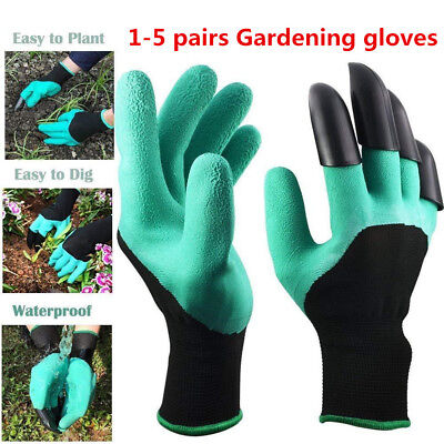 Garden Genie Gloves For Digging&Planting with ABS Plastic Claws Gardening