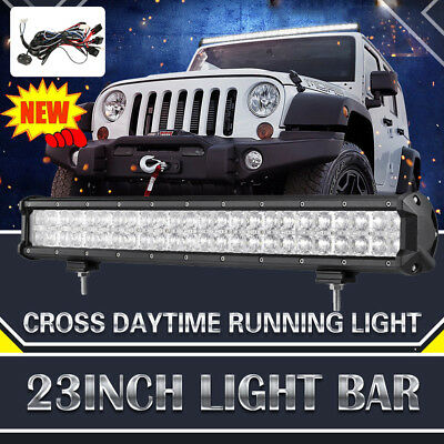 """23inch 576W Philips LED Light Bar Flood Spot Offroad Driving Work W/ DRL 20"""" 28"""""""