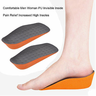 Men Women PU Invisible Heel Lift Taller Shoe Inserts Height Increase Insoles *B
