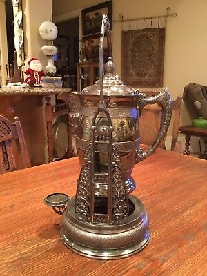 Antique Simpson Hall Miller & Co  Quadruple Silver Plate Tilting Water Pitcher