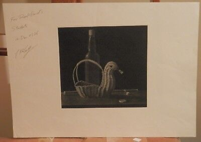 OLD Listed Japanese Artist Fine Art MEZZOTINT ETCHING vintage artwork Signed