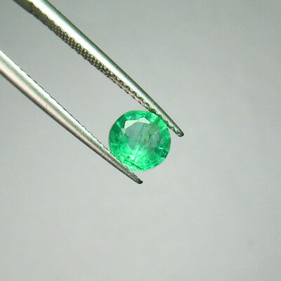 "0.80 Ct - Natural Emerald - Good ""vs-2"" Luster Green Color Round Cut Zambia"