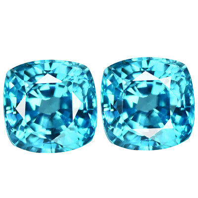 1.46Ct IF 2Pcs Pair Shimmering Cushion Cut 4 x 4 mm 100% AAA Natural Blue Zircon