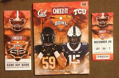 Lot of  2018 Cheez-It Bowl Program Ticket & Guide Cal Bears - TCU Horn Frogs