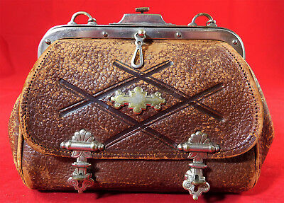 Victorian Antique Hand Tooled Leather Small Satchel Silver Chain Purse Handbag