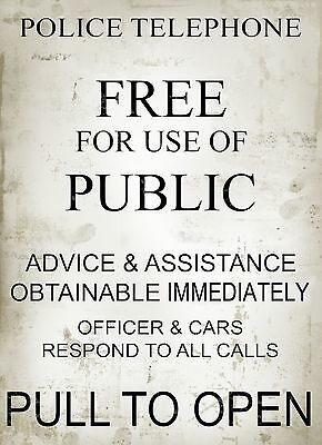 Police Vintage  Telephone Box Assistance  Metal Sign: Home Decor Man-Cave:shed