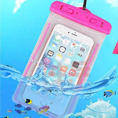 UK 20m Underwater Waterproof Case Fluorescent Cover Bag Dry Pouch #PINK