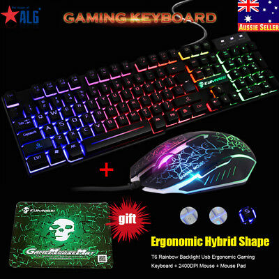 T6 Rainbow Backlight Ergonomic Gaming Keyboard and Mouse Set USB for PC Laptop A
