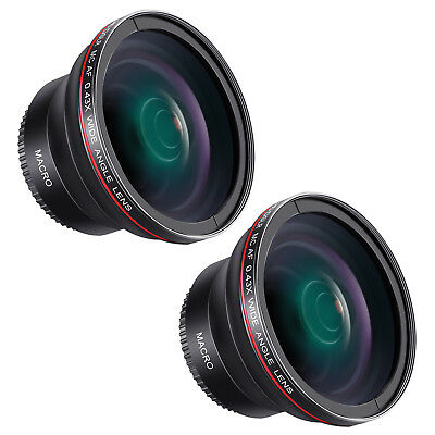 52mm 58mm 2pcs 0.43x HD Wide Angle Lens with Macro Portion for Canon Nikon DSLRs