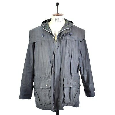 Men's Navy BARBOUR Lined DURHAM WALKING JACKET Waxed Cotton Hooded Outdoor 40